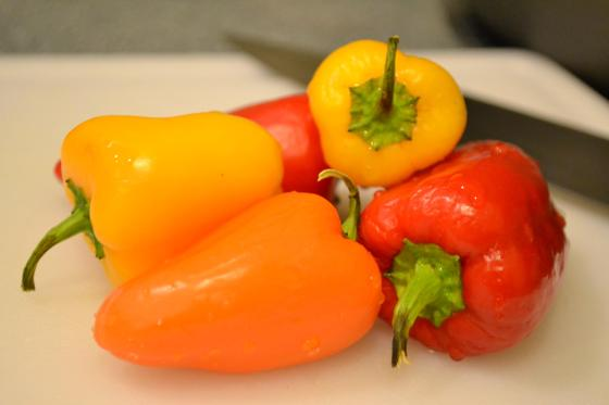 Instead of using just one regular bell pepper, I used a bunch of these mini peppers that I had.