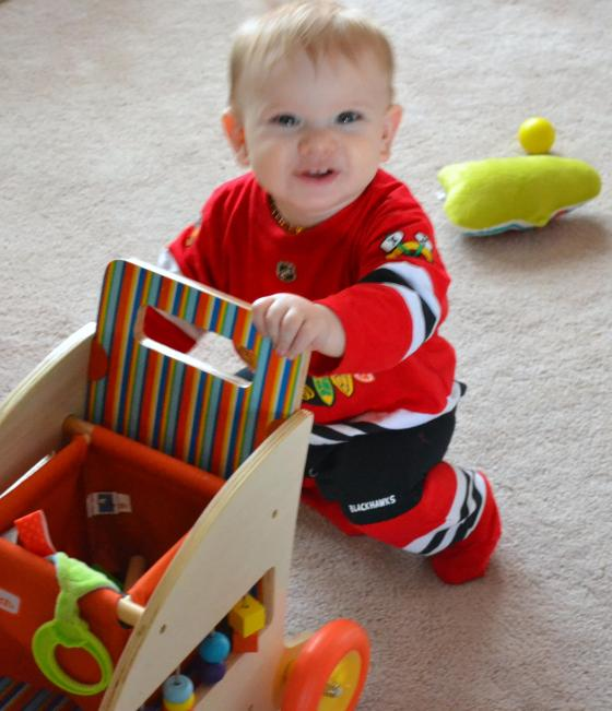 I know it's a bit blurry, but I thought he looked so cute in his Blackhawks pjs...
