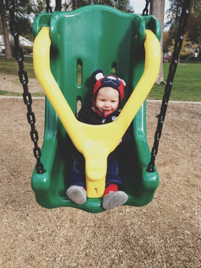 first time on the swings!