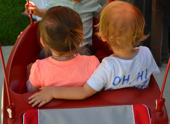Lincoln and the lovely hostess on a wagon ride...