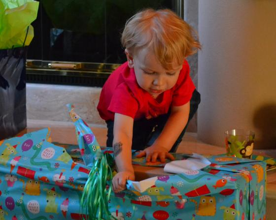 Lincoln was delighted to open more presents!