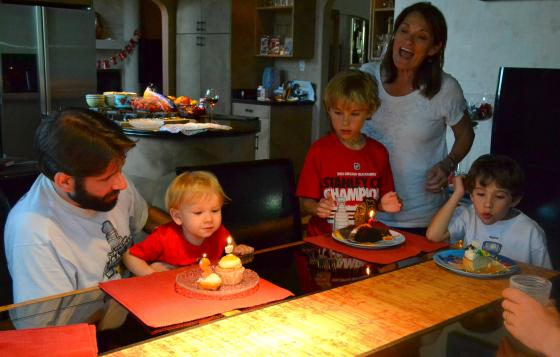 "then, more cupcake and singing, ""Happy Birthday!"""