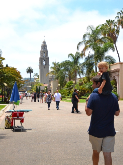 shoulder rides with Dad in Balboa Park