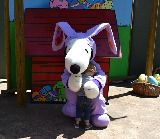 He was pretty excited to see Snoopy, the Easter Beagle